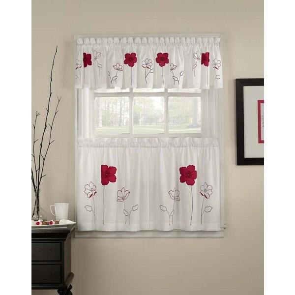 Poppy Garden 3-piece Curtain Tier and Valance Set