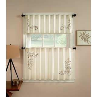 Scroll Leaf 3-piece Curtain Tier and Valance Set