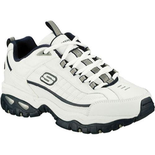 Men's Skechers Energy After Burn White Leather/Navy Trim (WNV)