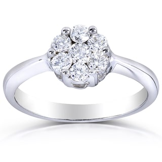Annello 14k White Gold 1/2ct TDW Round Diamond Cluster Ring (H-I, I1-I2)