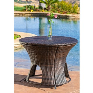 Christopher Knight Home Rodolfo Wicker Multibrown Outdoor Round Storage Table