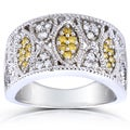 Annello 14k White Gold 1/2ct TDW Yellow and White Diamond Floral Band (H-I, I1-I2)