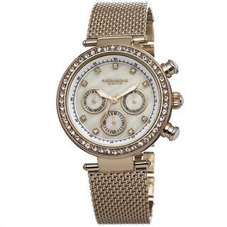 Akribos XXIV Women's Multifunction Quartz Genuine Crystal Stainless Steel Bracelet Watch