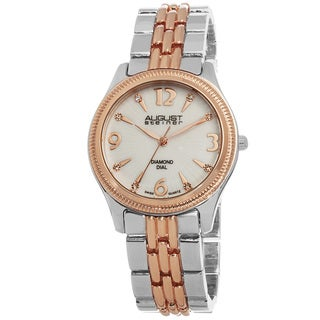 August Steiner Women's Genuine Diamond MOP Dial Swiss Quartz Bracelet Watch