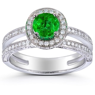 Annello 18k White Gold Emerald and 1/2ct TDW Diamond Halo Ring (G-H, VS1-VS2)
