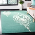 Safavieh Handmade Soho Teal/ Ivory New Zealand Wool/ Viscose Rug (7'6 x 9'6)