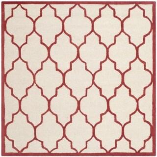 Safavieh Handmade Moroccan Cambridge Ivory/ Rust Wool Rug (6' Square)