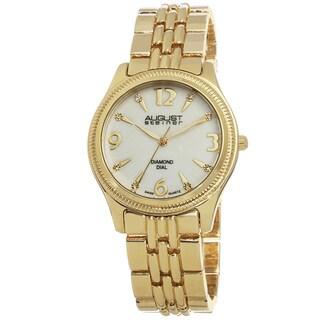 August Steiner Women's Genuine Diamond MOP Dial Swiss Quartz Bracelet Watch