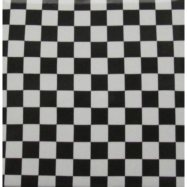 Black/ White Checkered Ceramic Wall Tile (Pack of 20)
