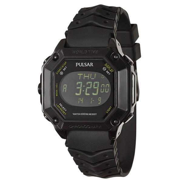 Pulsar Men'sBlack Stainless Steel 'On The Go' Alarm Digital Chronograph, GMT, World Timer Watch