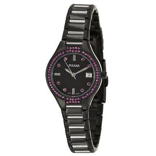 Pulsar Women's 'Night Out' Black Stainless Steel Japanese Quartz Watch
