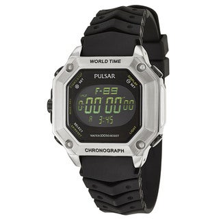Pulsar Men's 'On The Go' Stainless Steel Alarm Digital Chronograph World Timer Watch