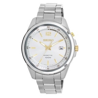 Seiko Men's Kinetic Stainless Steel and Yellow Goldplated Power Reserve Watch