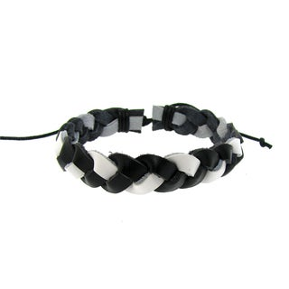 Men's Black and White Leather Woven Bracelet