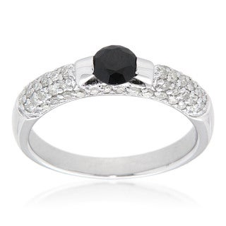 D'sire Sterling Silver 3/5ct TDW Black Spinel and White Diamond Ring (I-J, SI1-SI2)