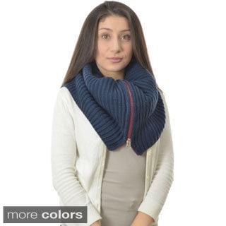 Women's Contrast Zipper Infinity Scarf
