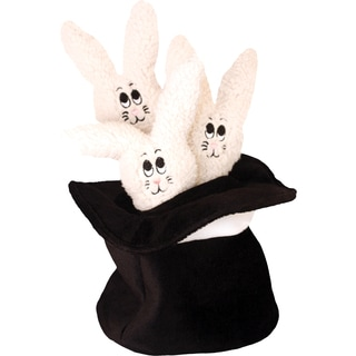 Loopies Three Bunnies in Magic Hat Plush 6-inch Dog Toy