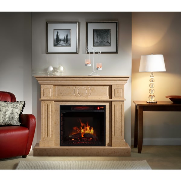 Corvus Electric Flame Travertine Mantel Fireplace with Multi-function Remote Control 12443011
