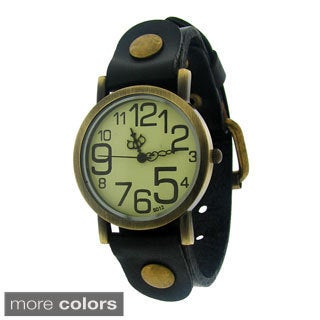 Moise Women's Leather Large Number Dial Band Watch