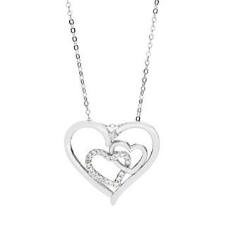 La Preciosa Sterling Silver Cubic Zirconia Triple Heart Necklace