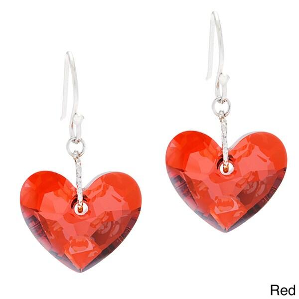 La Preciosa Sterling Silver with Austrian Crystal Elements Heart Earrings