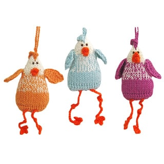 Set of 3 Hand-knit Chicken Alpaca Wool Ornaments (Peru)