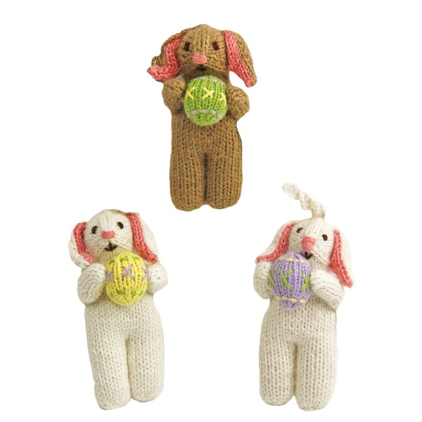 Set of 3 Hand-knit Alpaca Easter Bunny Ornaments (Per)