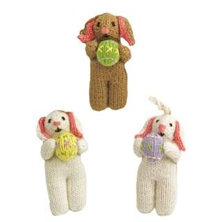 Set of 3 Hand-knit Alpaca Easter Bunny Ornaments (Perú)