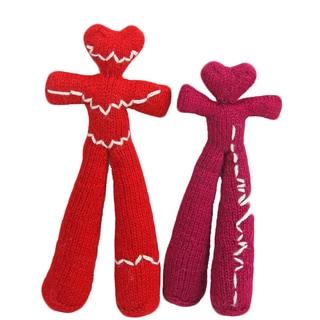 Set of 2 Hand-knit Heart Beat Alpaca Wool Dolls (Perú)