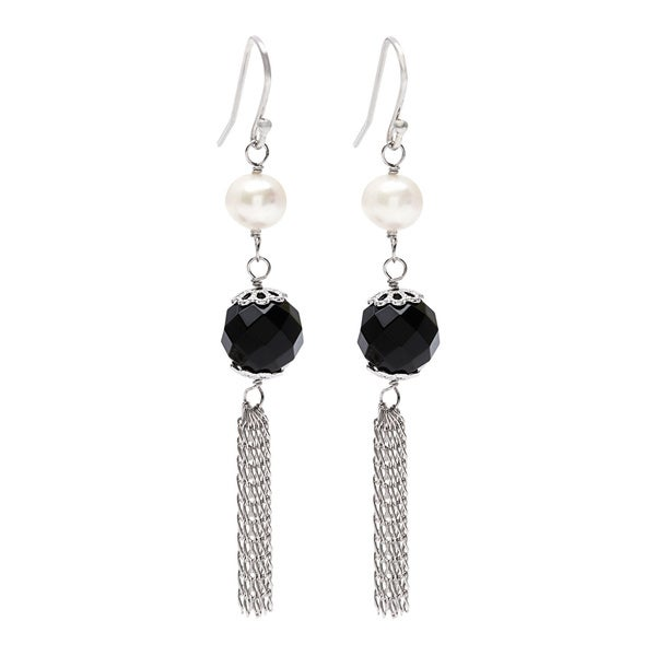 Kabella Pearl and Black Agate Tassle Earrings
