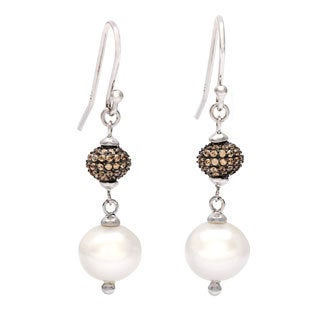 Kabella Silver Brown CZ and Pearl Dangle Earrings