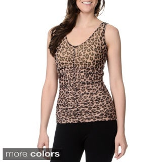 Teez-Her Women's Animal Print Ruched-front Shapewear Tank