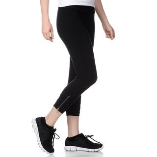 Teez-Her Women's Black Tummy Control Active Capri Pants