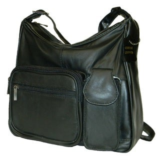 Hollywood Tag Black Lambskin Leather Multi-pocket Handbag