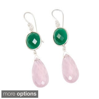 Handcrafted Sitara Green Onyx and Gemstone Dangle Earrings (India)