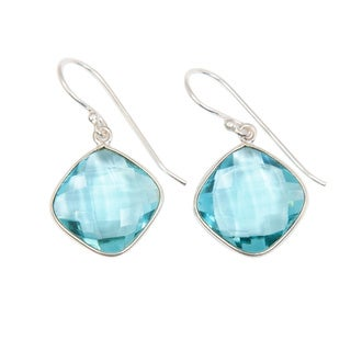 Handcrafted Sitara Silverplate Faceted Blue Topaz Dangle Earrings (India)