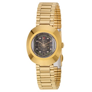 Rado Women's 'Original' Yellow Goldplated Hardmetal Black Dial Automatic Watch