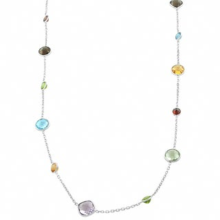 Fremada Sterling Silver Multiple Gemstones Necklace (24 inch)