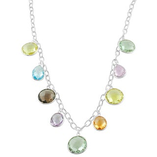 Fremada Sterling Silver Multiple Gemstones Station Necklace (16 inch)
