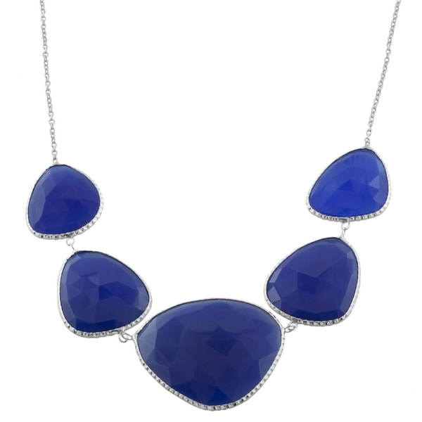 Fremada Sterling Silver Mixed-shapes Blue Quartz Necklace (18 inch)