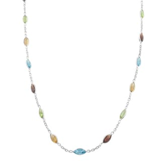 Fremada Sterling Silver Marquise Multiple Gemstones Station Necklace (18 inch)