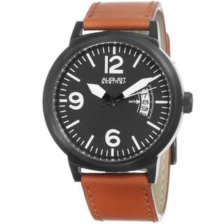 August Steiner Men's Bright Quartz Genuine Leather Strap Watch