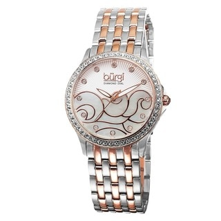 Burgi Women's Swiss Quartz Diamond MOP Wave Dial Bracelet Watch