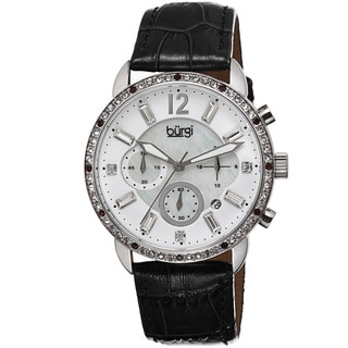 Burgi Women's Crystal Dial Chronograph Genuine Leather Strap Watch