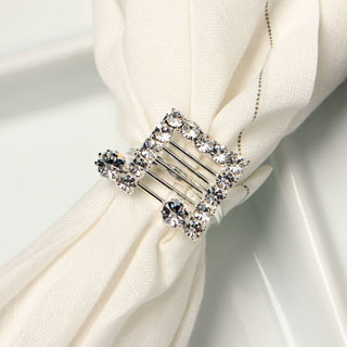 Detti Originals Silvertone Crystal Double Music Notes Napkin Rings (Set of 4)