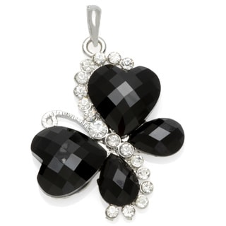 Black Crystal and Rhinestone Butterfly Pendant