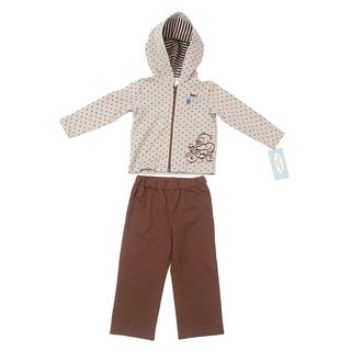 Kathy Ireland 'Bear' Brown and Heather Grey Cotton 2-piece Jacket Set