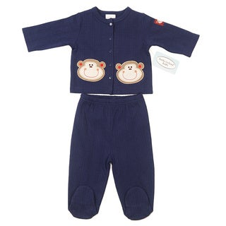 Kathy Ireland Boys Navy Monkey Print 2-piece Pant Set