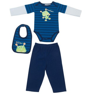 Kathy Ireland Boys Navy Monster Print 4-piece Bib Set