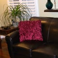 Bellagio Burgundy Shaggy Decorative Square Throw Pillow